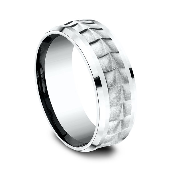 Wedding Bands - Ammara Stone Comfort-fit Design Wedding Band - image 2