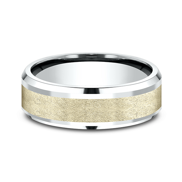 Men's Wedding Bands - Ammara Stone Comfort-fit Design Ring - image #2