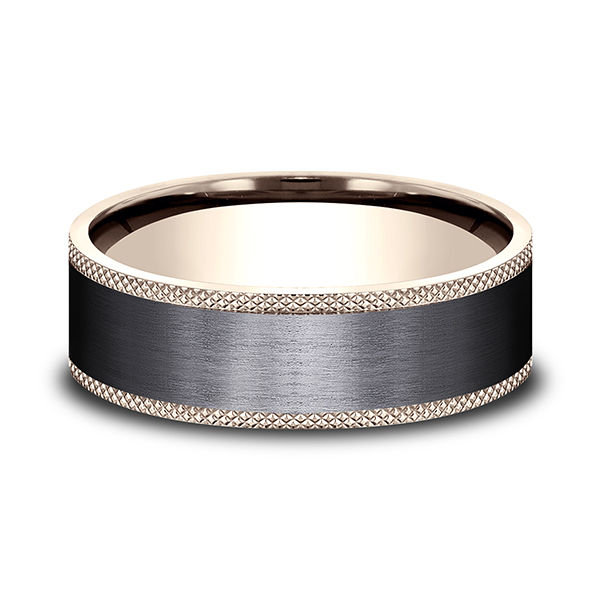 Men's Wedding Bands - Ammara Stone Comfort-fit Design Wedding Band - image #3