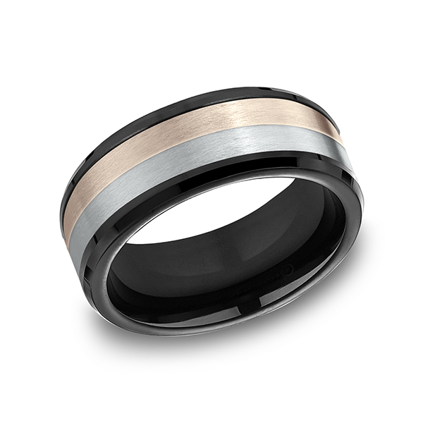 Men's Wedding Bands - Ammara Stone Comfort-fit Design Ring - image #3