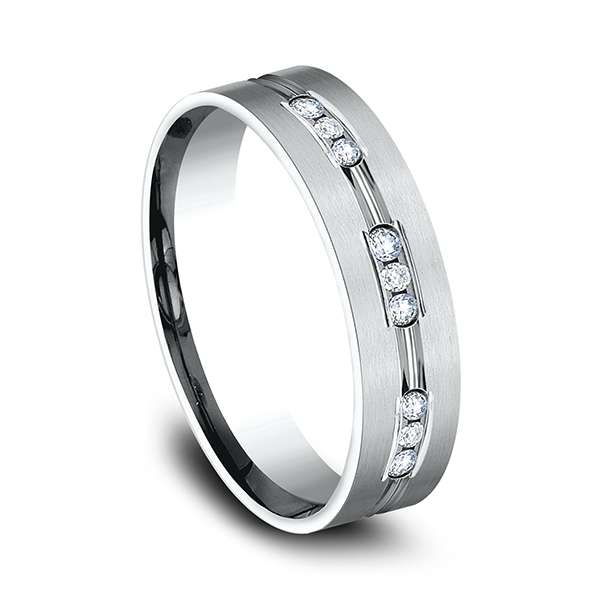 Gold/platinum/palladium Wedding Bands - Comfort-Fit Diamond Wedding Band - image 2