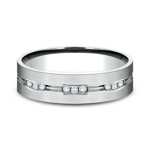 Gold/platinum/palladium Wedding Bands - Comfort-Fit Diamond Wedding Band - image 3