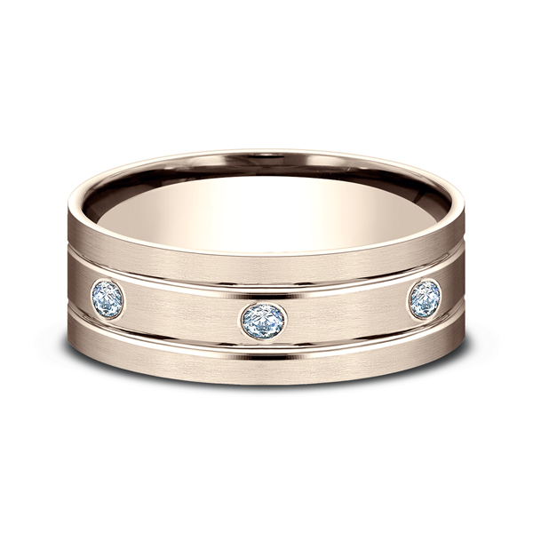 Men's Wedding Bands - Comfort-Fit Diamond Wedding Band - image #3