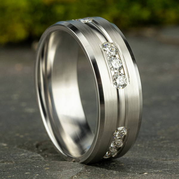 Comfort-Fit Diamond Wedding Band Image 4 Geoffreys Diamonds & Goldsmith San Carlos, CA
