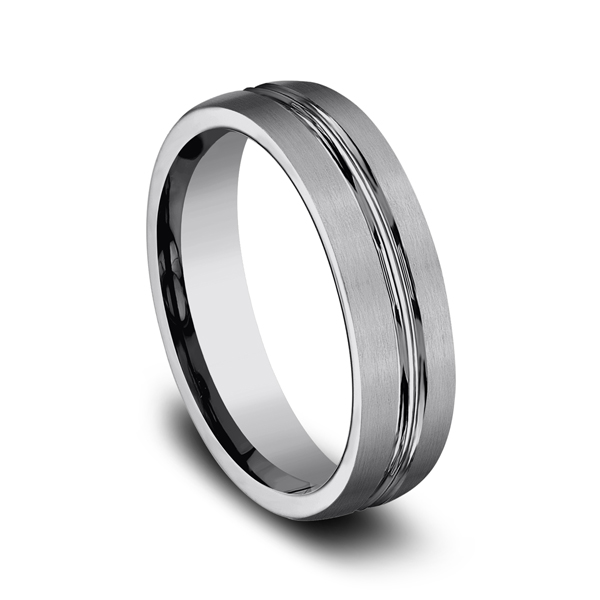Tungsten Comfort-Fit Design Wedding Band Image 2  ,