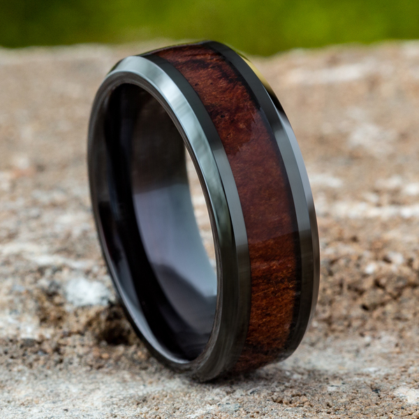 Black Cobalt Comfort-Fit Design Wedding Band Image 4  ,