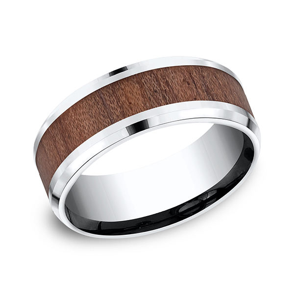 Cobalt and Rosewood Comfort-Fit Design Wedding Band by Forge