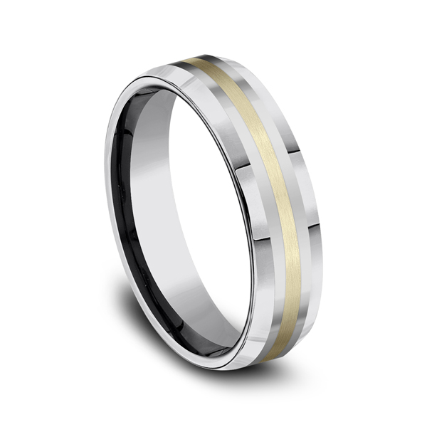 Tungsten Comfort-Fit Design Wedding Band Image 2 Arezzo Jewelers Chicago, IL