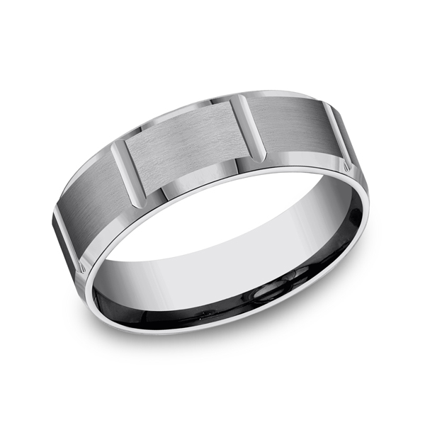 Tungsten Comfort-Fit Design Wedding Band Geoffreys Diamonds & Goldsmith San Carlos, CA