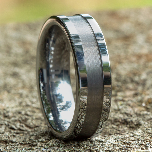 Tungsten Comfort-Fit Design Wedding Band Image 4 Geoffreys Diamonds & Goldsmith San Carlos, CA