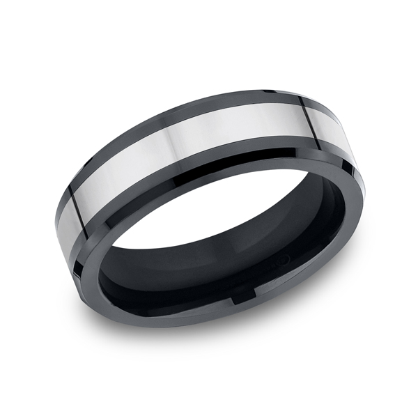 Tungsten and Seranite Two-Tone Comfort-Fit Wedding Band Piper Diamond Co. Vincennes, IN