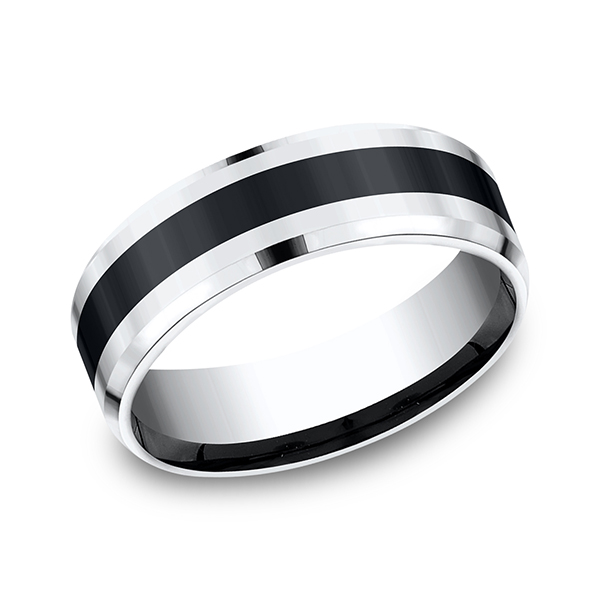 Cobalt and Ceramic Comfort-Fit Design Wedding Band by Forge