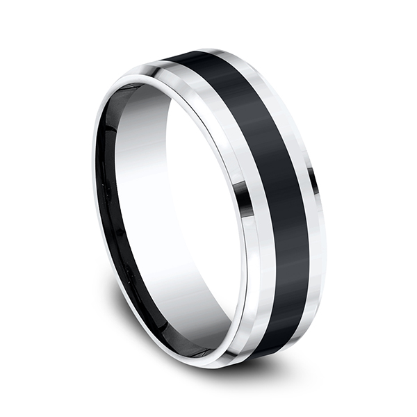 Cobalt and Ceramic Comfort-Fit Design Wedding Band Image 2  ,