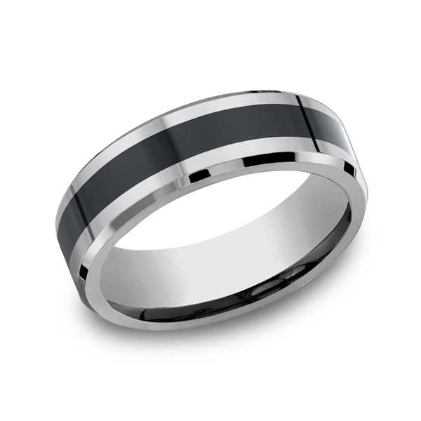 Wedding Rings - Tungsten and Seranite Two-Tone Comfort-Fit Wedding Band