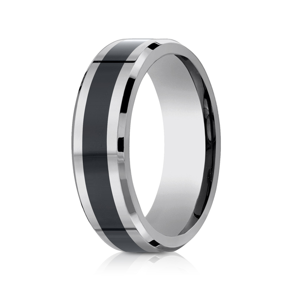 Wedding Rings - Tungsten and Seranite Two-Tone Comfort-Fit Wedding Band - image 2