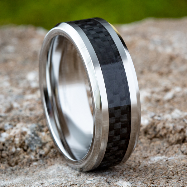 Cobalt and Carbon Fiber Comfort-Fit Design Wedding Band Image 4 Mitchell's Jewelry Norman, OK
