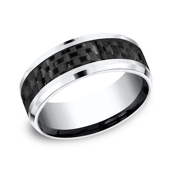 Cobalt and Carbon Fiber Comfort-Fit Design Wedding Band by Forge