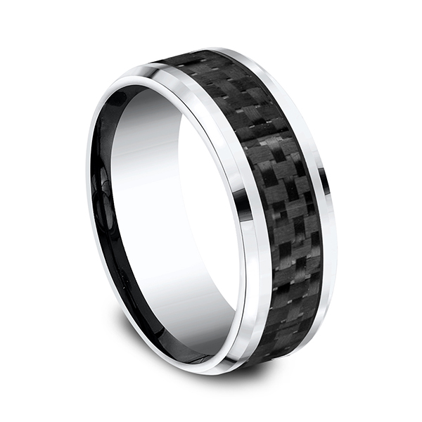 Wedding Bands - Cobalt and Carbon Fiber Comfort-Fit Design Ring - image #3