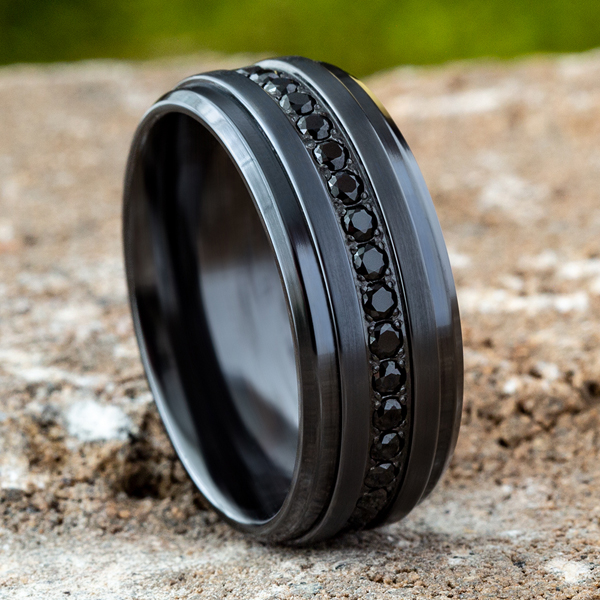 Black Titanium Comfort-Fit Design Wedding Band Image 4 Confer's Jewelers Bellefonte, PA