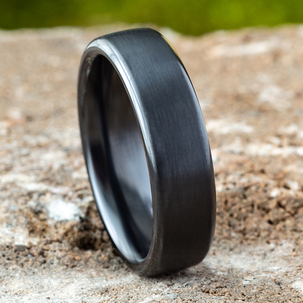 Black Titanium Comfort-Fit Design Wedding Band Image 4 Heller Jewelers San Ramon, CA