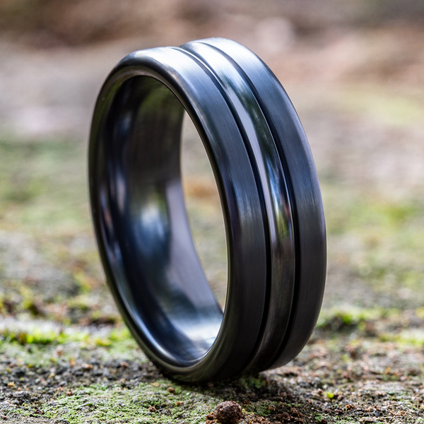 Black Titanium Comfort-Fit Design Wedding Band Image 4 Mark Allen Jewelers Santa Rosa, CA