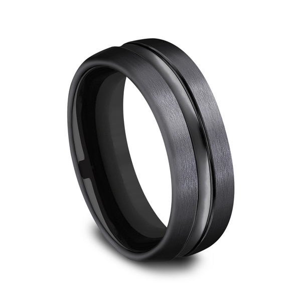 Black Titanium Comfort-Fit Design Wedding Band Image 2 Mark Allen Jewelers Santa Rosa, CA
