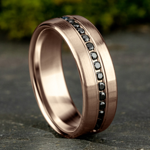 Wedding Bands - Comfort-Fit Black Diamond Wedding Ring - image #4