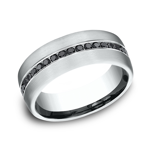 Comfort-Fit Black Diamond Wedding Ring Gala Jewelers Inc. White Oak, PA