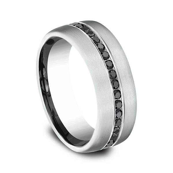 Comfort-Fit Black Diamond Wedding Ring Image 2 Gala Jewelers Inc. White Oak, PA