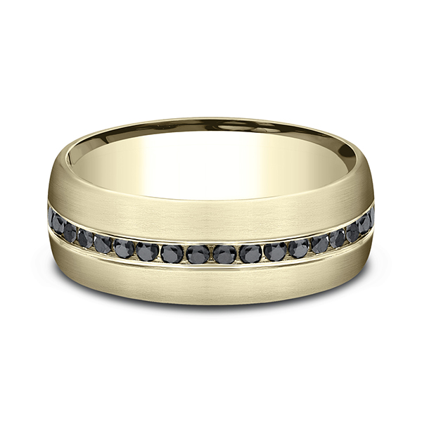 Comfort-Fit Black Diamond Wedding Ring Image 3  ,