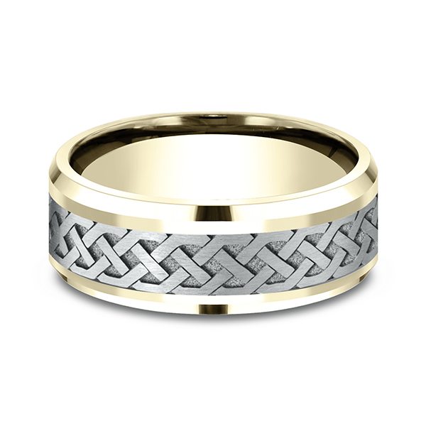 Mens Bands - Two-Tone Comfort-Fit Design Ring