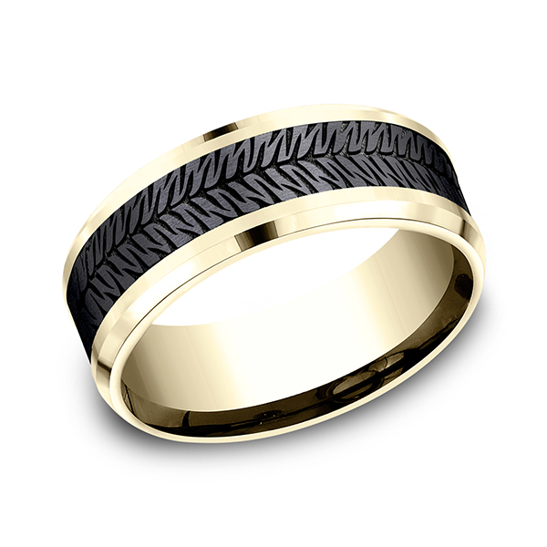 Men's Wedding Bands - Ammara Stone Comfort-fit Design Wedding Band