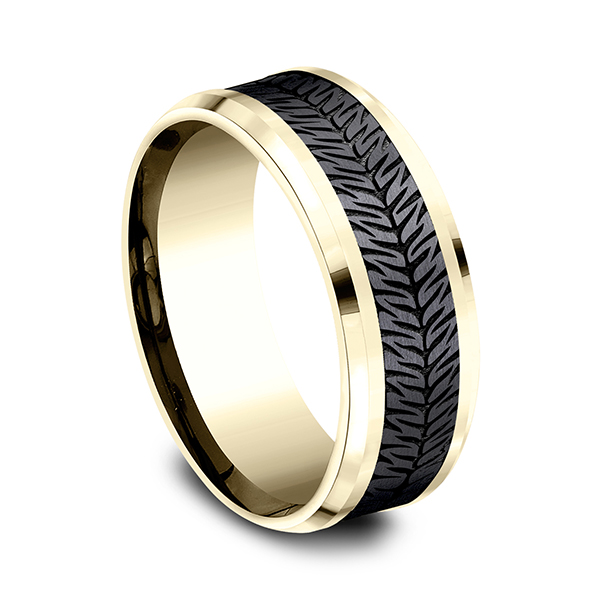 Men's Wedding Bands - Ammara Stone Comfort-fit Design Wedding Band - image 2