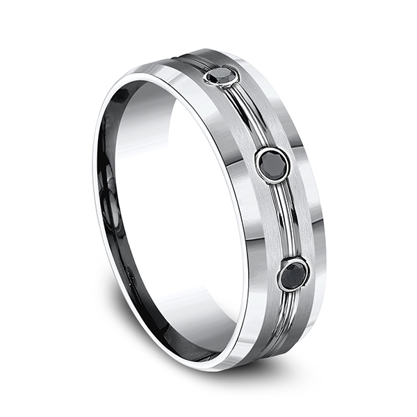 Men's Wedding Bands - Cobalt Comfort-Fit Black Diamond Ring - image #3