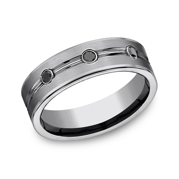 Tungsten Comfort-Fit Design Wedding Band Heller Jewelers San Ramon, CA