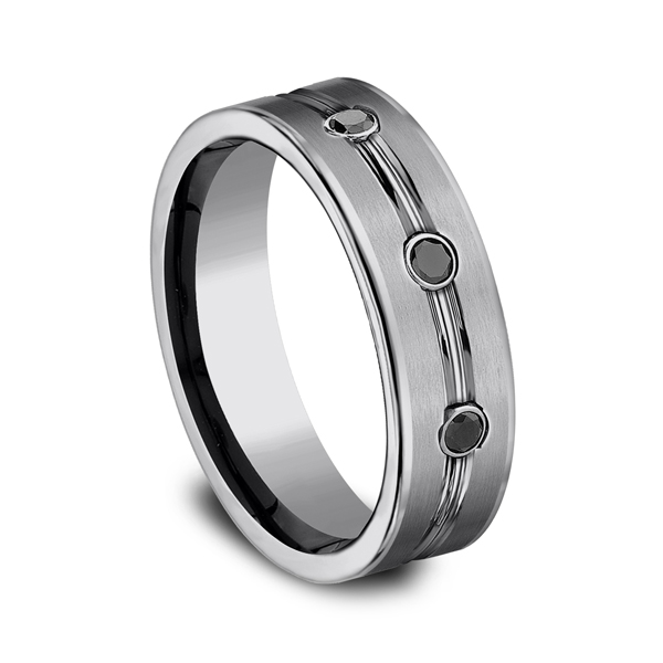 Men's Wedding Bands - Tungsten Comfort-Fit Design Wedding Band - image #2