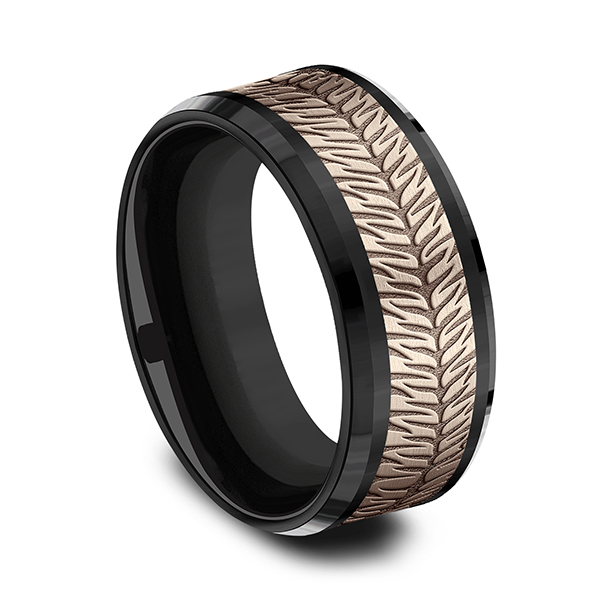 Men's Wedding Bands - Ammara Stone Comfort-fit Design Wedding Band - image #2
