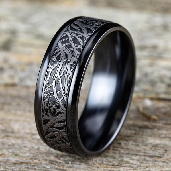 Tantalum and Black Titanium Comfort-fit Design Wedding Band Image 4 Ross's Rings & Things Kilmarnock, VA