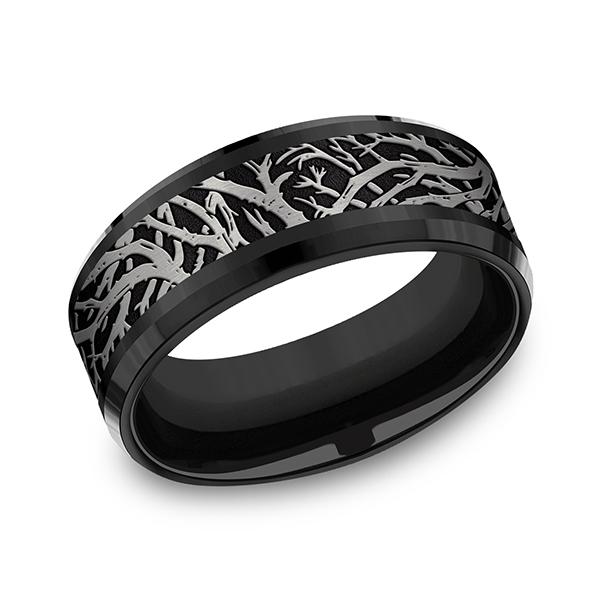 Tantalum and Black Titanium Comfort-fit Design Wedding Band by Tantalum