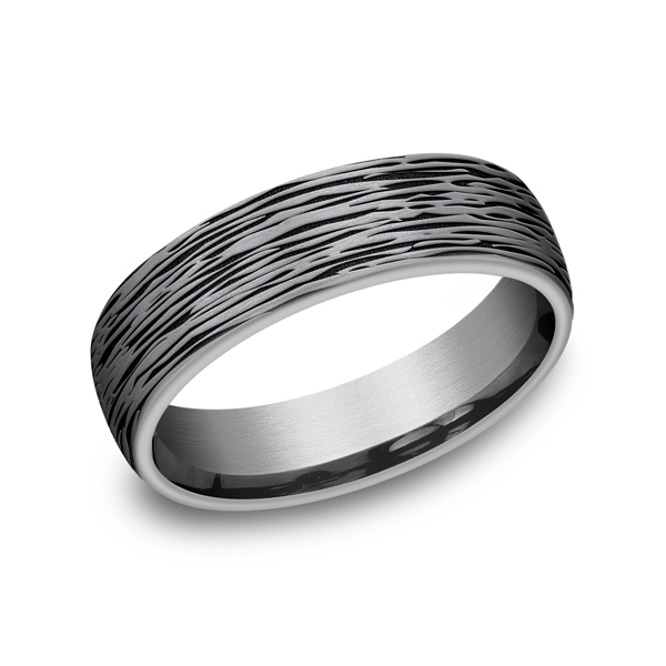 Men's Wedding Bands - Grey Tantalum Comfort-fit wedding band