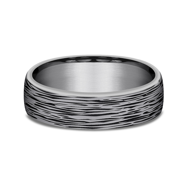 Men's Wedding Bands - Grey Tantalum Comfort-fit wedding band - image #3