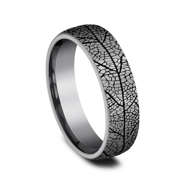 Wedding Rings - Grey Tantalum Comfort-fit wedding band - image 2