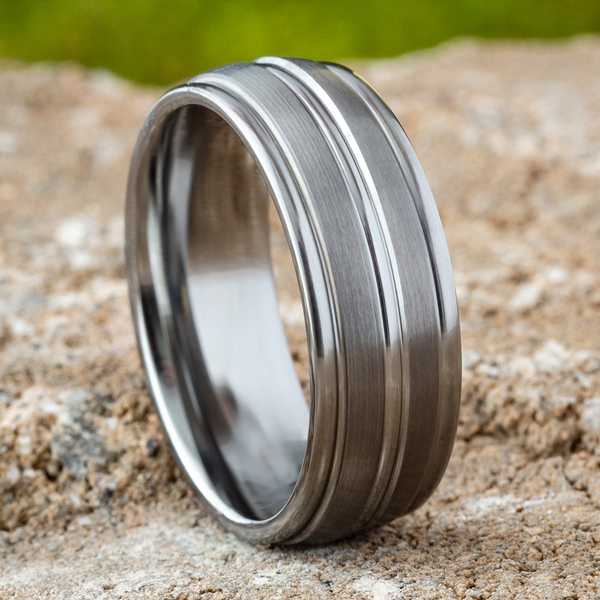Tungsten Comfort-Fit Design Wedding Band Image 4  ,