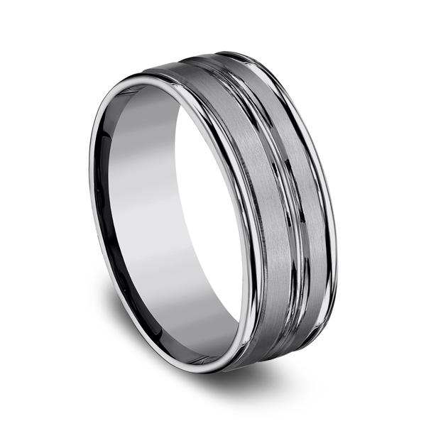 Men's Wedding Bands - Tungsten Comfort-Fit Design Wedding Band - image 2