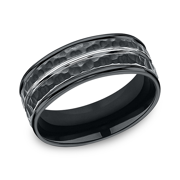 Mens Bands - Cobalt Comfort-Fit Design Ring