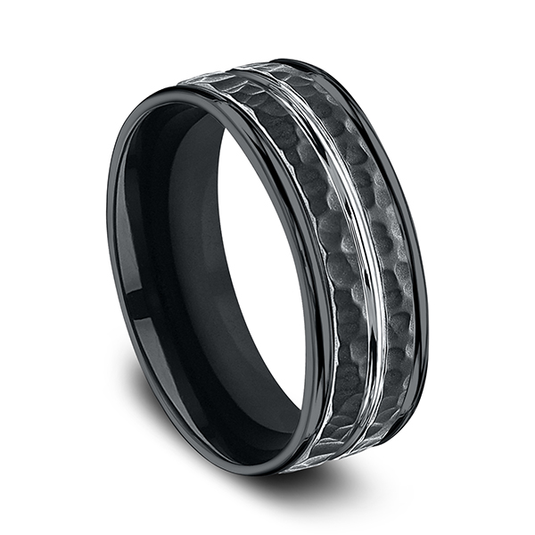 Mens Bands - Cobalt Comfort-Fit Design Ring - image #3
