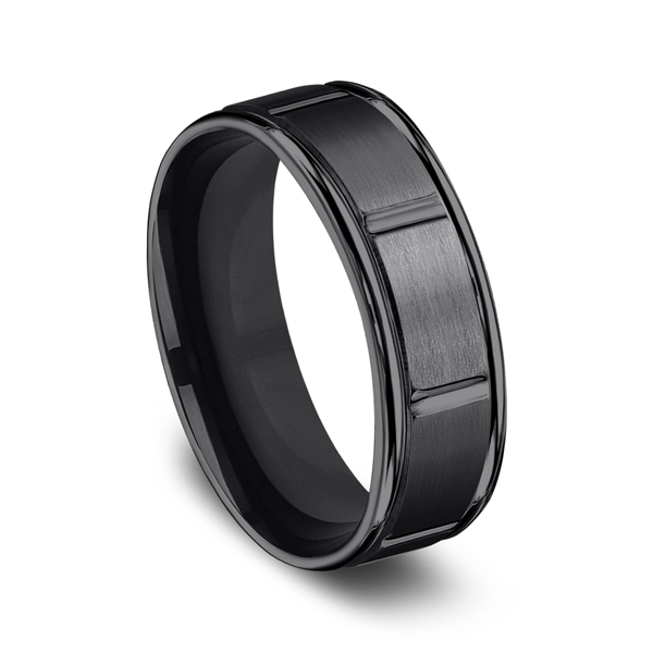 Black Titanium Comfort-Fit Design Wedding Band Image 2  ,