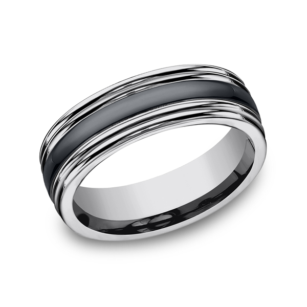 Men's Wedding Bands - Tungsten and Seranite Two-Tone Design Wedding Band