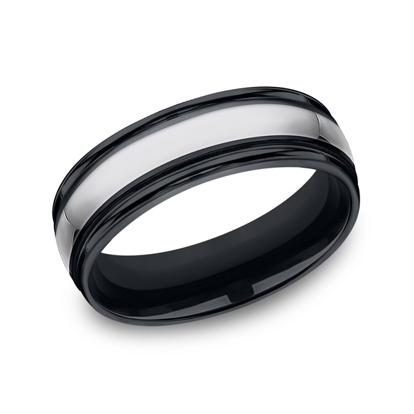 Tungsten and Seranite Comfort-Fit Design Wedding Band Arezzo Jewelers Chicago, IL