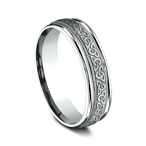 Men's Wedding Bands - Comfort-Fit Design Ring - image #2